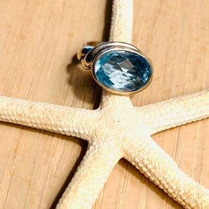 Sundance faceted blue topaz.925 ring size 5